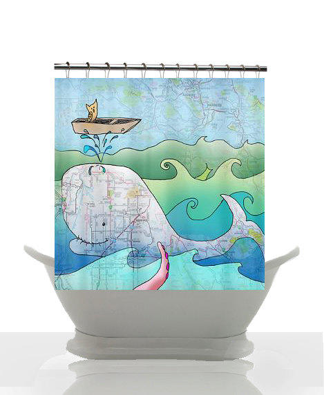 Surf Beach Bathroom Decor : Artistic shower curtain shelley of the from