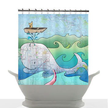 Artistic Shower Curtain - Shelley of the Deep Blue Sea - Watercolor Art, Sea Turtle, Surf, beach, surfer, blue, teen decor, bathroom
