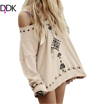 DIDK 2016 Spring Womens Pullovers Ladies Pink Three Quarter Length Sleeve Tribal Embroidered Casual Loose Sweatshirt