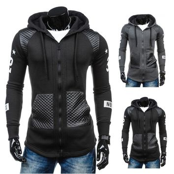 Men's Leather Hoodie Hooded Winter Warm Sweatshirt Sweater Coat Jacket Outwear
