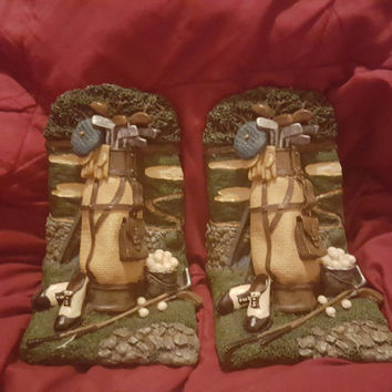 Golf Bag Cart Club Shoe Glove Bookends Figi Graphics 1995 Use Coupon Code 2BEBBUY 20 PCT 20.00 Min