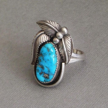 Vintage LARGE Turquoise RING Native American Indian Jewelry, Sterling Silver NAVAJO Mens Rings, Size 13, Morenci Turquoise Gift for Him