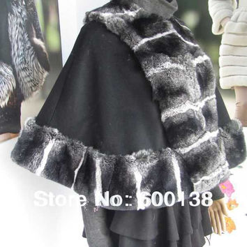 Drop shipping Free shipping 100% cashmere cape with rex rabbit chinchilla fur trim/ poncho 0711