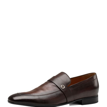 Men's Leather GG Loafer - Gucci - Brown
