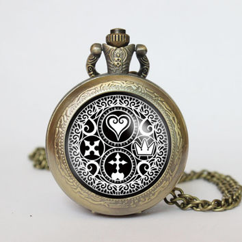 Handmade Kingdom Hearts Ultimania Trinity Emblem Symbol pocket watch locket necklace Kingdom Hearts Ultimania vintage locket necklace