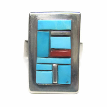Vintage Navajo Sterling Turquoise Coral Cobble Inlay Ring Size 8.5