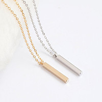 Tiny Vertical Straight Bar Necklace, Gold / Silver, Layering Jewelry, LJ bj