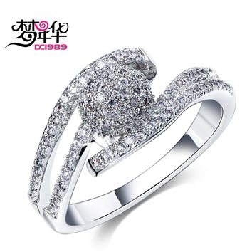Dreamcarnival1989 Wedding Party Band Rings For Women Rhodium or Gold-color Prong Setting Clear White Synthetic Cubic Zirconia