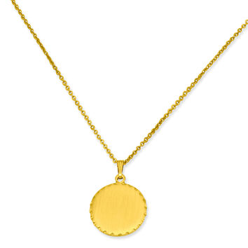 18in Gold-plated Medium Satin Round Engraveable Disc Necklace KW363