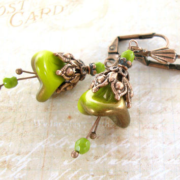 Olive and Copper Flower Earrings - Neo Victorian Flower Dangle Earrings - Woodland Fairy Copper Jewelry Czech Glass Nature Flower Jewelry