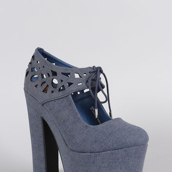 Dollhouse Denim Mary Jane Cutouts Platform Chunky Pump