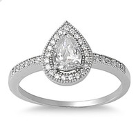 925 Sterling Silver CZ Embraced Tear Drop Ring 7MM