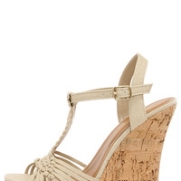 Weave-ning Time Taupe Woven Wedge Sandals