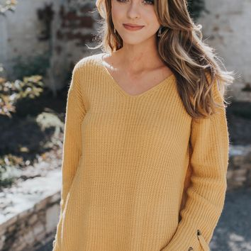Wanderer Cable Knit Sweater, Mustard
