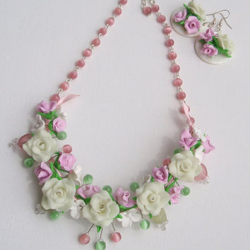 Beaded necklace and earrings with flowers- Rose set-Polymer clay flower set- White pink earrings and necklace-Night glow set