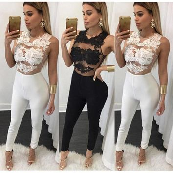Women Strap Sleeveless Lace Chiffon Party Jumpsuit Sexy Lace Floral Solid Sleeves Jumpsuit Long Pant