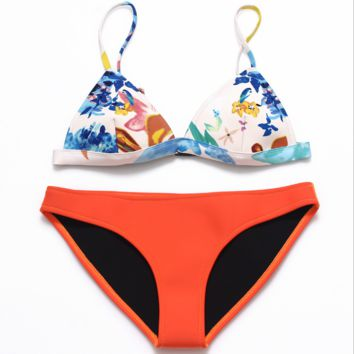 Fashion upper floral print bottom orange Neoprene two piece bikini swimsuit