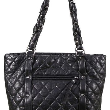CHANEL Tote Shopper Bag Black Distressed Leather Silver Gunmetal CC CLASSIC