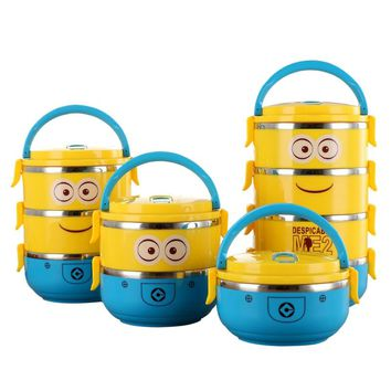 Minions Protable School Kid Stainless Steel Thermos Heated Lunch Box Food Container Compartment Marmita Tableware