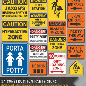 Construction Party Signs, Construction Signs, Construction Party Theme, Construction Party decor