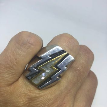 Vintage 1980's Southwestern Opal White Mother of Pearl Lighting Bolt Men's Motorcycle Ring