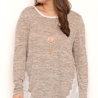 Plus Size Long Sleeve Heathered Sweater with Solid Lace Back
