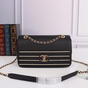 HCXX 19July 072 AS0100 Vintage Embroidery Granule Embossed Cowhide Chain Single Shoulder Bag 24-14-9 black