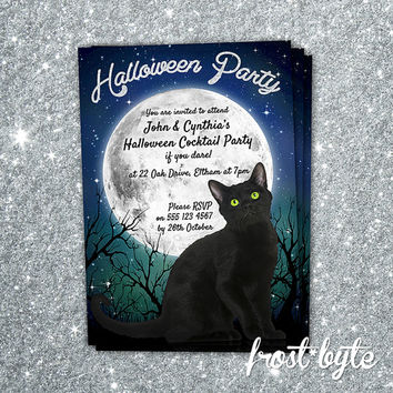 Halloween Party Invitation - Cat moon stars theme - Custom invitation for your Halloween Party - Digital file to print yourself