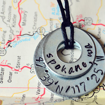 Custom Metal Stamped Latitude/Longitude Location Necklace