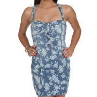 Denim Floral Button Dress | Shop Sale at Wet Seal