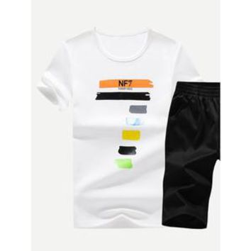 Men Number Print Tee With Shorts