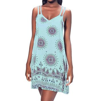 Blue Printed Criss Cross Back Mini Boho Dress