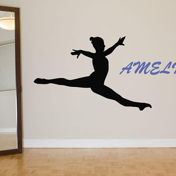 Gymnastics Wall Decal, Personalized Gymnast Wall Decal, Gymnastics Decor, Custom Name Girls Room,  Dancing Girl, Ballerina, Kids Art  nm058