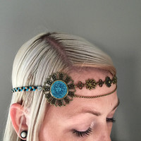 Boho hippy headbands adjustable charm headpiece. Bling, showpiece, handmade, braided suede.