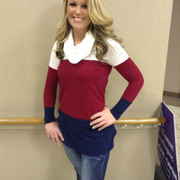 Ruby & Navy Cowl Neck Tunic