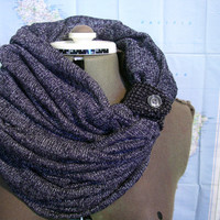 Infinity Scarf --  chunky cowl scarf, multiple styling options with button tab closure,  BLACK AND GREY sweater circle scarf.
