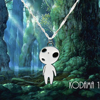 Studio Ghibli Princess Mononoke sterling silver necklace with 5 Kodama charms to choose from. Free UK Postage