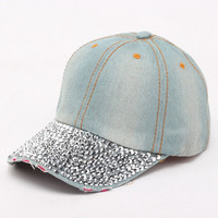 Summer Style Denim Hats Bling Rhinestone Baseball Cap Casual Woman