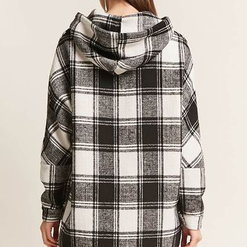 Plaid Wool-Blend Hooded Jacket