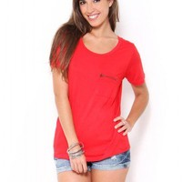 Zenana Outfitters Zipper Pocket Tee - JUST ARRIVED