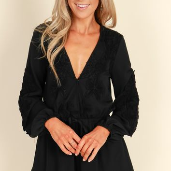 All About That Lace Romper Black
