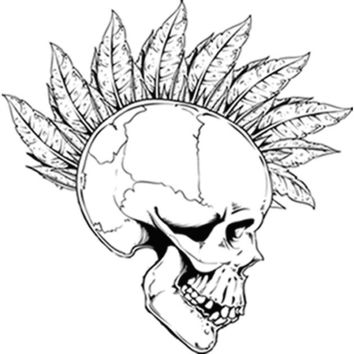 Feather Mohawk Skull (Black) Plastisol Heat Transfer