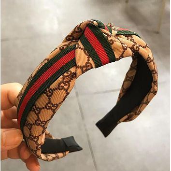 GUCCI Stylish Classic Ladies Letter Red Green Stripe Wide Edge Ribbon Middle Screw Knot Hair Hoop Headband Beige I12209-4