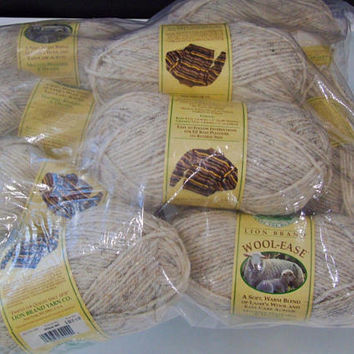Lion Brand  Yarn Lot of 10 Skeins Wool Ease Wheat  Color 402  Soft Lambs Wool and Acrylic Easy Care  Knitting Yarn