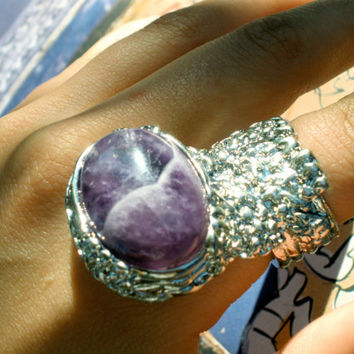 YSL arty blogger hipster ring - large amethyst mystical stone and silver jewelry goddess Yves Saint Laurent replica
