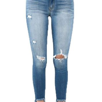 ICIKAB3 Kan Can Medium Wash Chelsi Distressed Ankle Skinny Jeans