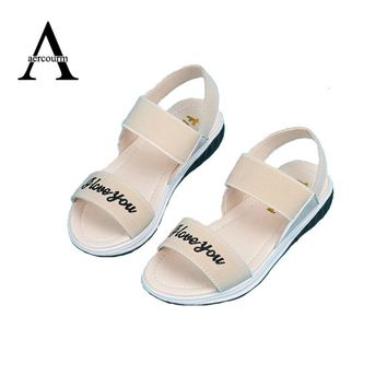 Aercourm A Children Shoes Girls Sandals 2017 New Summer Girls Shoes PU Leather Lovely Princess Teens Sandals Kids Shoes