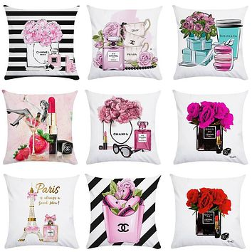 45cm*45cm Hand painted flowers and perfume bottles super soft cushion cover and sofa pillow case Home decorative pillow cover