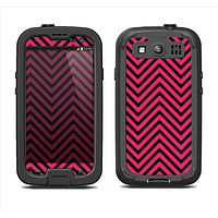 The Black & Pink Sharp Chevron Pattern Samsung Galaxy S3 LifeProof Fre Case Skin Set