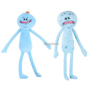 Licensed cool Rick & Morty Adult Swim MR. MEESEEKS HAPPY & SAD Blue Plush Bean Bag Toy Doll
